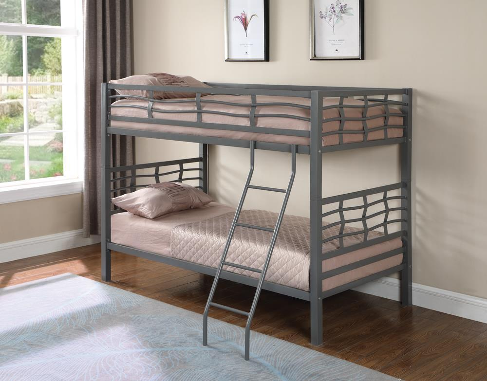 Fairfax Bunk Bed - Fairfax Twin Over Twin Bunk Bed With Ladder Light Gunmetal