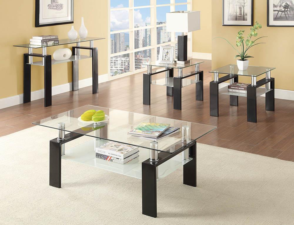 Living Room: Glass Top Occasional Tables - Tempered Glass Coffee Table With Shelf Black