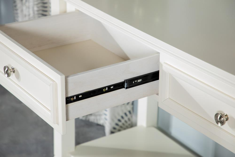 Square 1-drawer End Table With Lower Shelf White