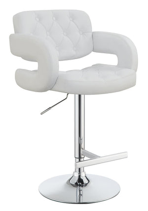 "Open image in slideshow, Rec Room/bar Stools: Height Adjustable - White - 29"" Adjustable Height Bar Stool Chrome And White"
