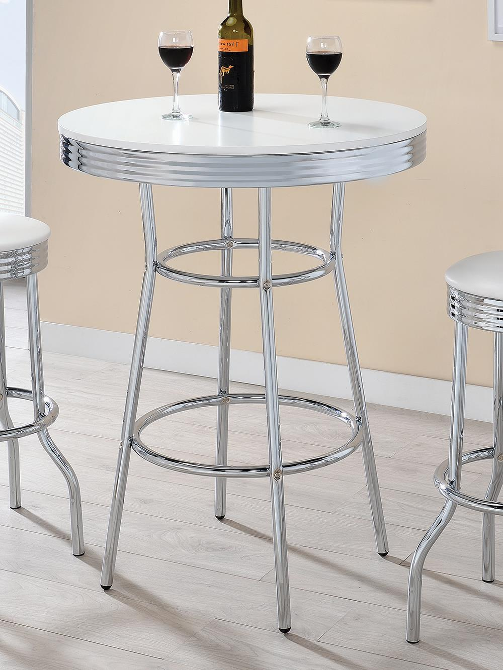 Rec Room/ Bar Tables: Chrome/glass - Round Bar Table Chrome And Glossy White