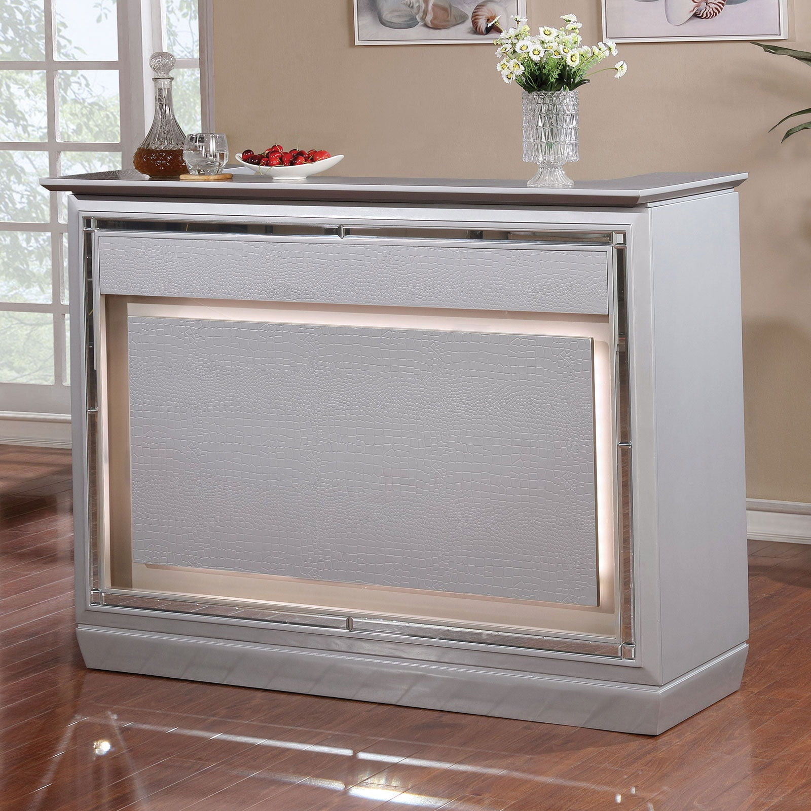 Alena - Bar Table w/ LED Touch Light & Mirror - Silver