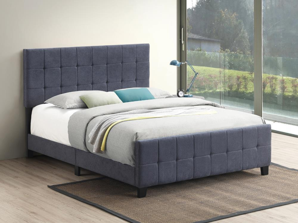 Fairfield Upholstered Bed - Dark Grey - Fairfield Eastern King Upholstered Panel Bed Dark Grey