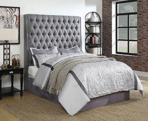 Open image in slideshow, Camille Upholstered Bed - Grey - Camille Grey Upholstered Queen Headboard