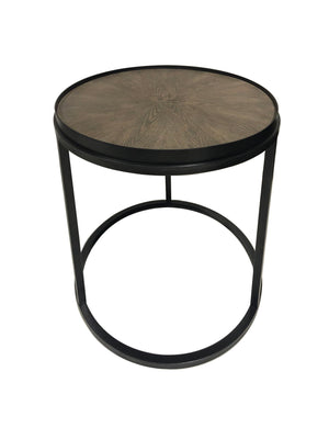 Open image in slideshow, Round End Table Weathered Elm And Gunmetal