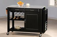 Open image in slideshow, Dining: Kitchen Carts - Black Kitchen Cart With Granite Top Box One