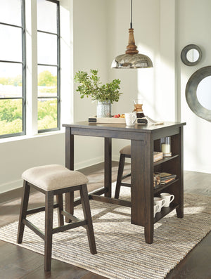 Open image in slideshow, Rokane Counter Height Dining Room Table and Bar Stools (Set of 3)