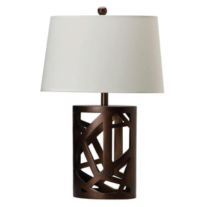 Open image in slideshow, White - Geometric Base Table Lamp Warm Brown And White