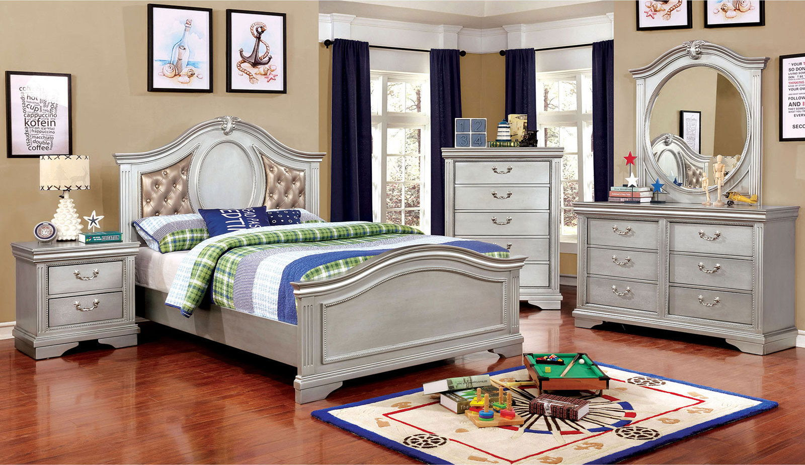 CLAUDIA - 4 Pc. Full Bedroom Set - Silver