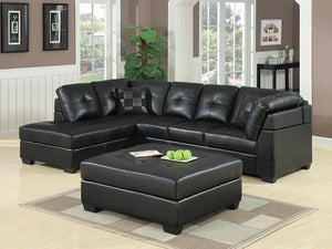Open image in slideshow, Darie Sectional - Black - Darie Cushion Back Tufted Sectional Sofa Black