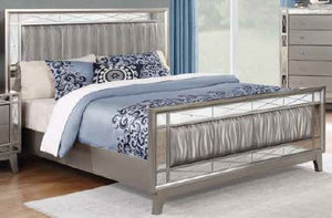 Open image in slideshow, Leighton Collection - Metallic - Leighton Contemporary Metallic Full Bed Box Three Side Rails And Slats