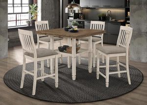 Open image in slideshow, Sarasota Collection - Sarasota 5-piece Round Counter Dining Set Nutmeg And Rustic Cream