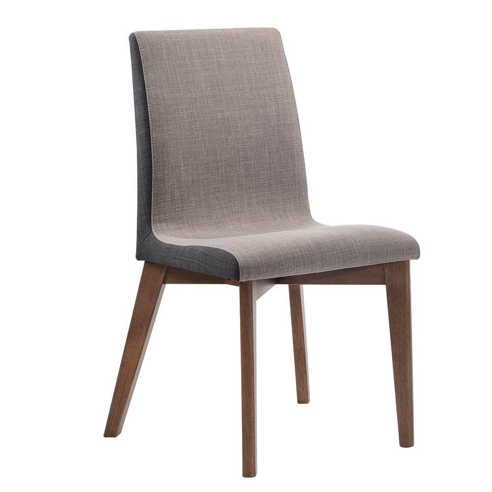 Redbridge Collection - Light Grey - Redbridge Upholstered Side Chairs Grey And Natural Walnut (Set of 2)