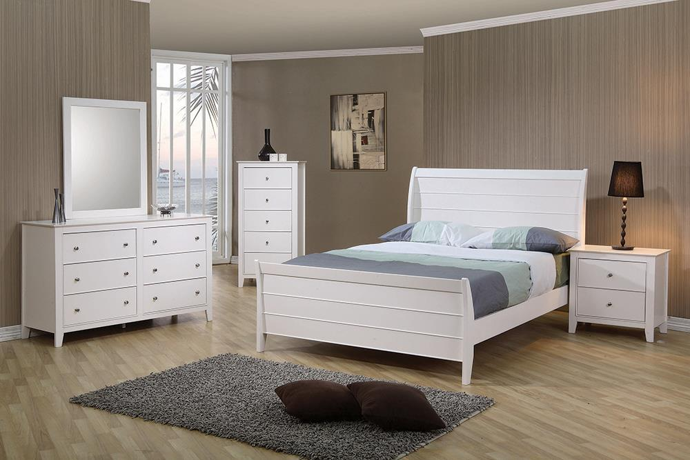 Selena Collection - Selena Twin Sleigh Platform Bed White