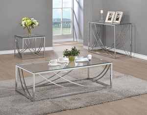 Living Room: Glass Top Occasional Tables - Glass Top Square End Table Accents Chrome