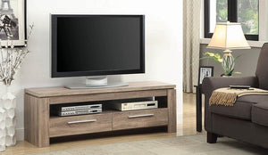 Open image in slideshow, Living Room : Tv Consoles - 2-drawer Tv Console Weathered Brown