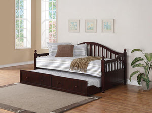 Open image in slideshow, Twin Daybed With Trundle - Arched Back Twin Daybed With Trundle Cappuccino