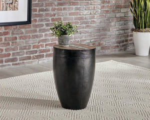 Open image in slideshow, End Table With Drum Base Natural Reclaimed Wood And Black Iron