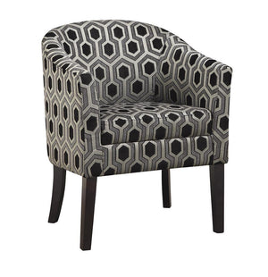 Accents : Chairs - Grey White - Hexagon Patterned Accent Chair Grey And Black