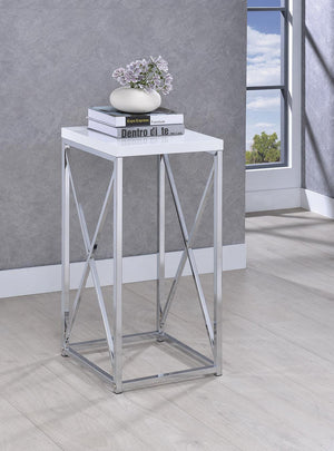 Open image in slideshow, Accent Table With X-cross Glossy White And Chrome