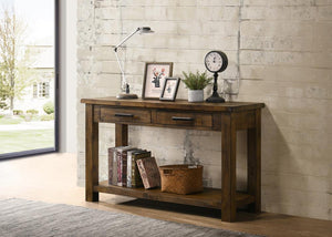 Open image in slideshow, Leaton 2-drawer Sofa Table Rustic Golden Brown