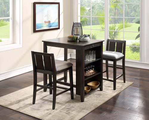 "36"" STORAGE COUNTER TABLE SET W/2 CHAIRS-CHERRY"