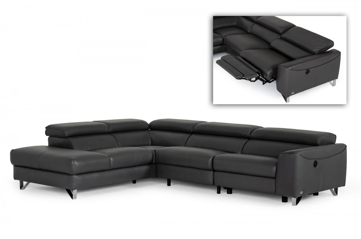 Modern Grey Teco Leather LAF Chaise Sectional w/ Recliner
