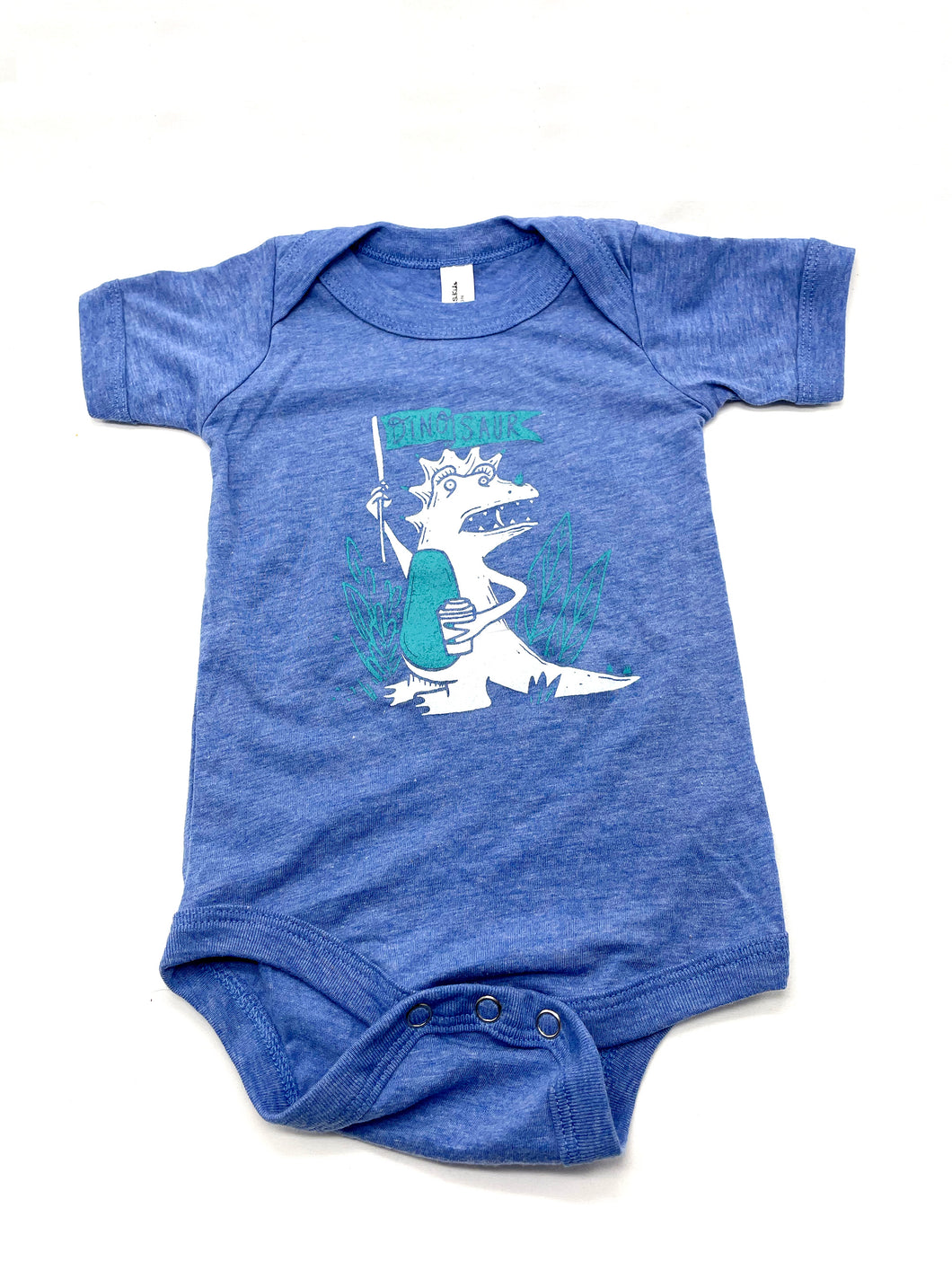Heather blue, snap bottom baby onesie with a white dinosaur creature holding a coffee in one hand and a teal