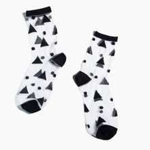 Load image into Gallery viewer, Sheer Socks in Black Triangles
