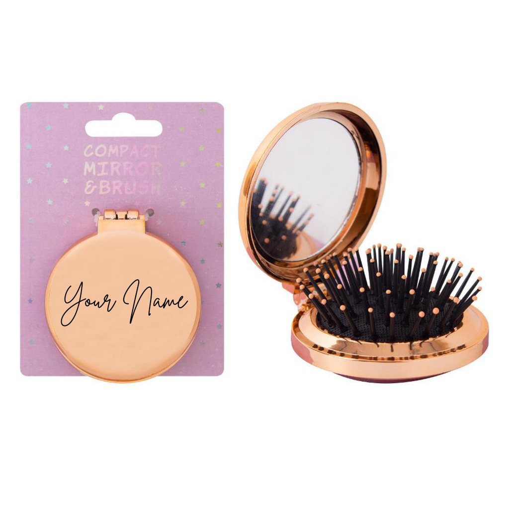 Personalised Foldaway Compact Hair Brush/Mirror