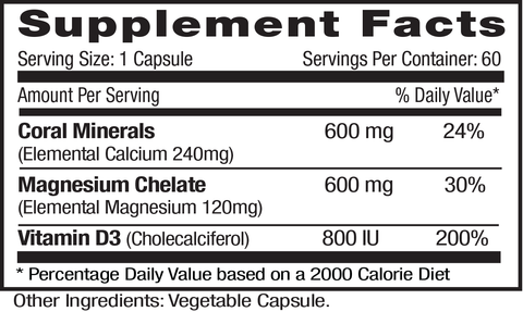 Emerald Labs Coral Calcium Plus (60) Supplements Facts