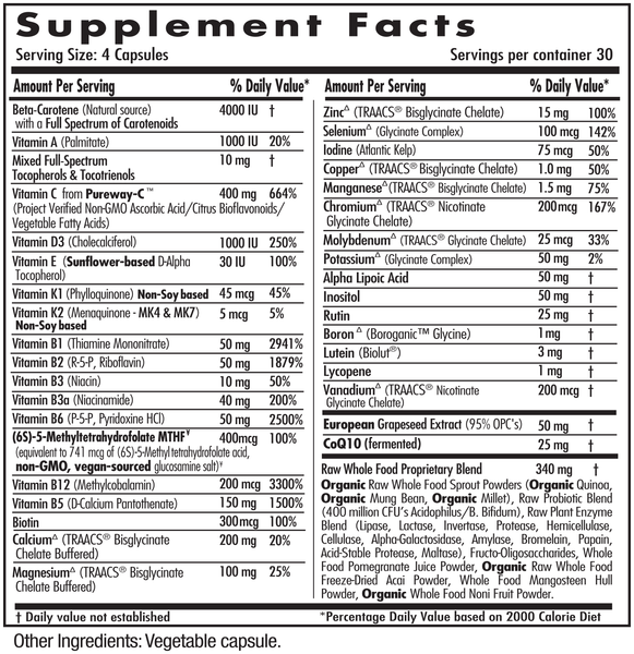 Emerald Labs Complete Clinical Multi Supplements Facts
