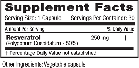 Emerald Labs Resveratrol 250mg (30) Supplement Facts