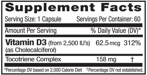 Emerald Labs Vitamin D3 Supplement Facts Panel