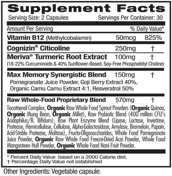 Emerald Labs Memory Health (60) Supplements Facts
