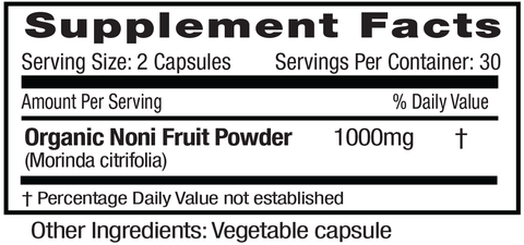 Emerald Labs Noni Fruit Supplements Facts