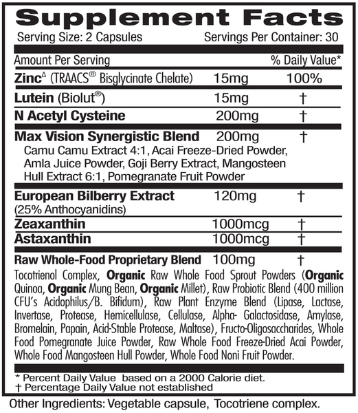 Emerald Labs Vision Health (60) Supplements Facts