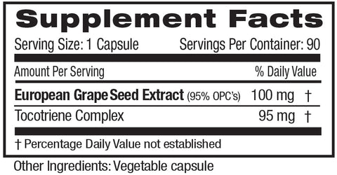 Emerald Labs European Grape Seed Extract Supplements Facts