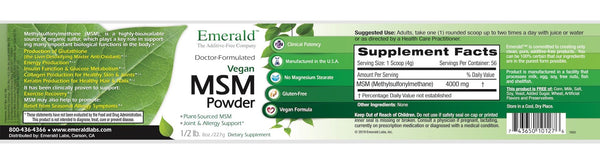 Emerald MSM Powder Label
