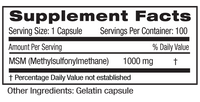 Emerald MSM 1000 Supplement Facts