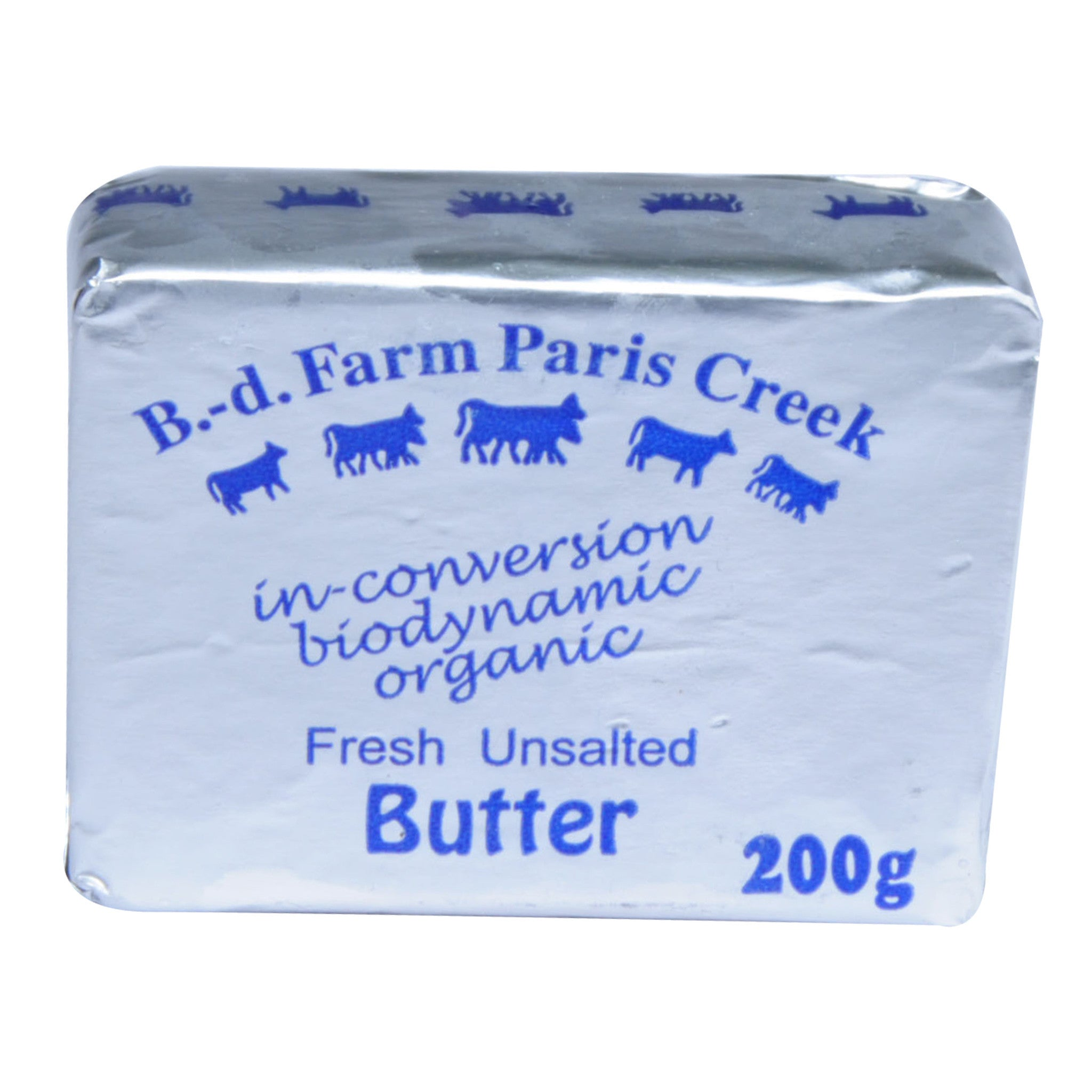 Butter -Unsalted (200g) Paris Creek Fresh Organic