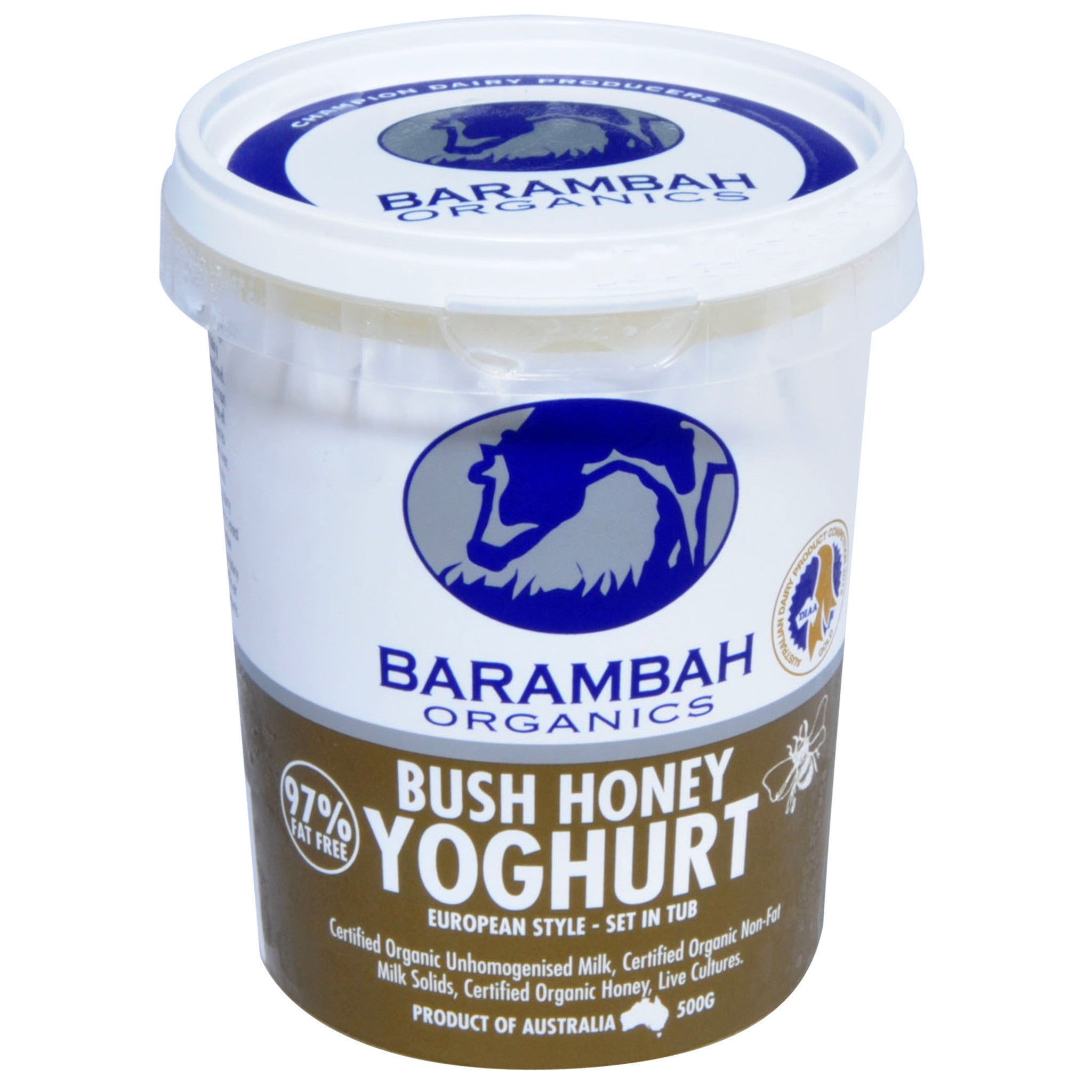 Organic Yoghurt - Honey (500g) Barambah
