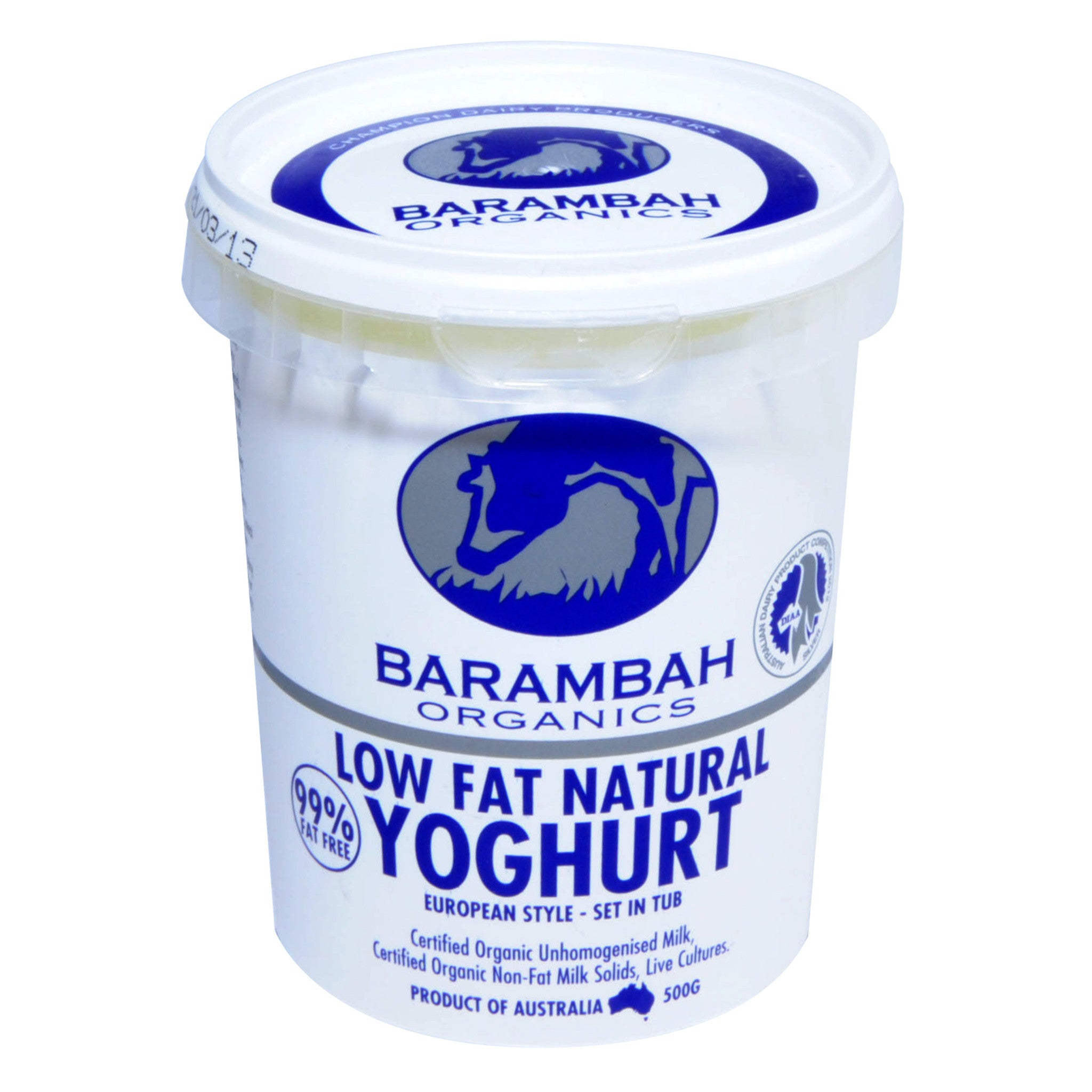 Organic Yoghurt - Low Fat (500g) Barambah