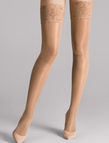 Wolford panty Satin touch 20 stay-up huid