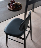 Outline Chair in Sumi Ash, Fabric Backrest and Leather Seat