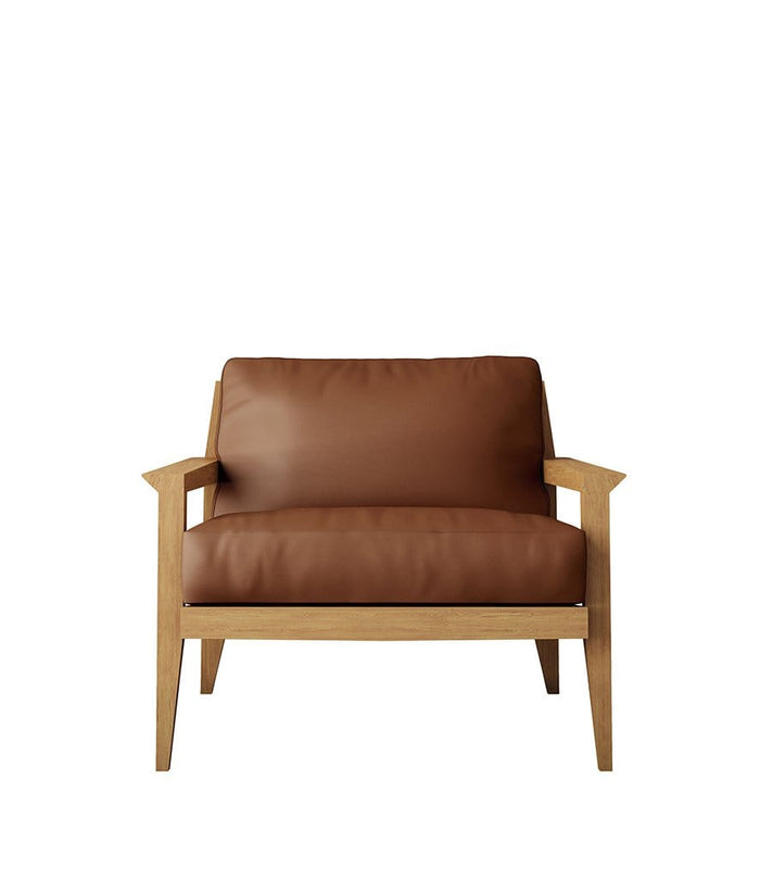 Stanley Armchair in Oak and Cognac Leather