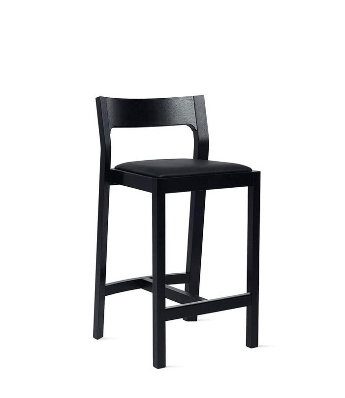 Profile Counter Stool in Black Stained Oak with Black Leather Seat