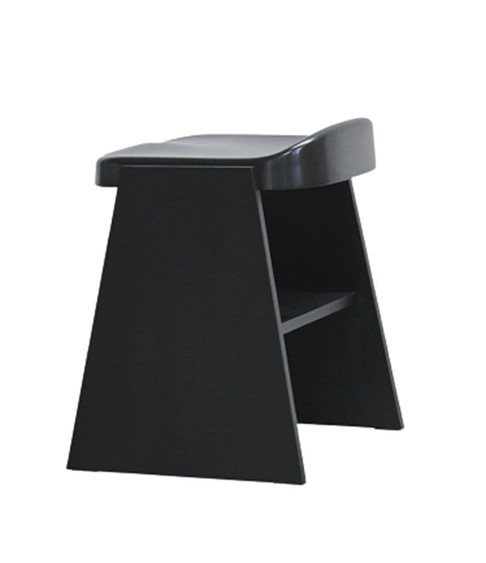 Fronda Low Stool Black Pine with Black Steel