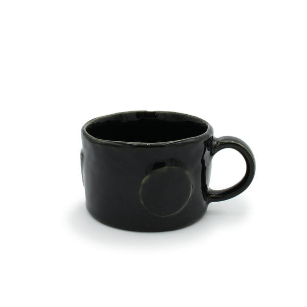 Short Black Kelp Mug with Laminated Shapes
