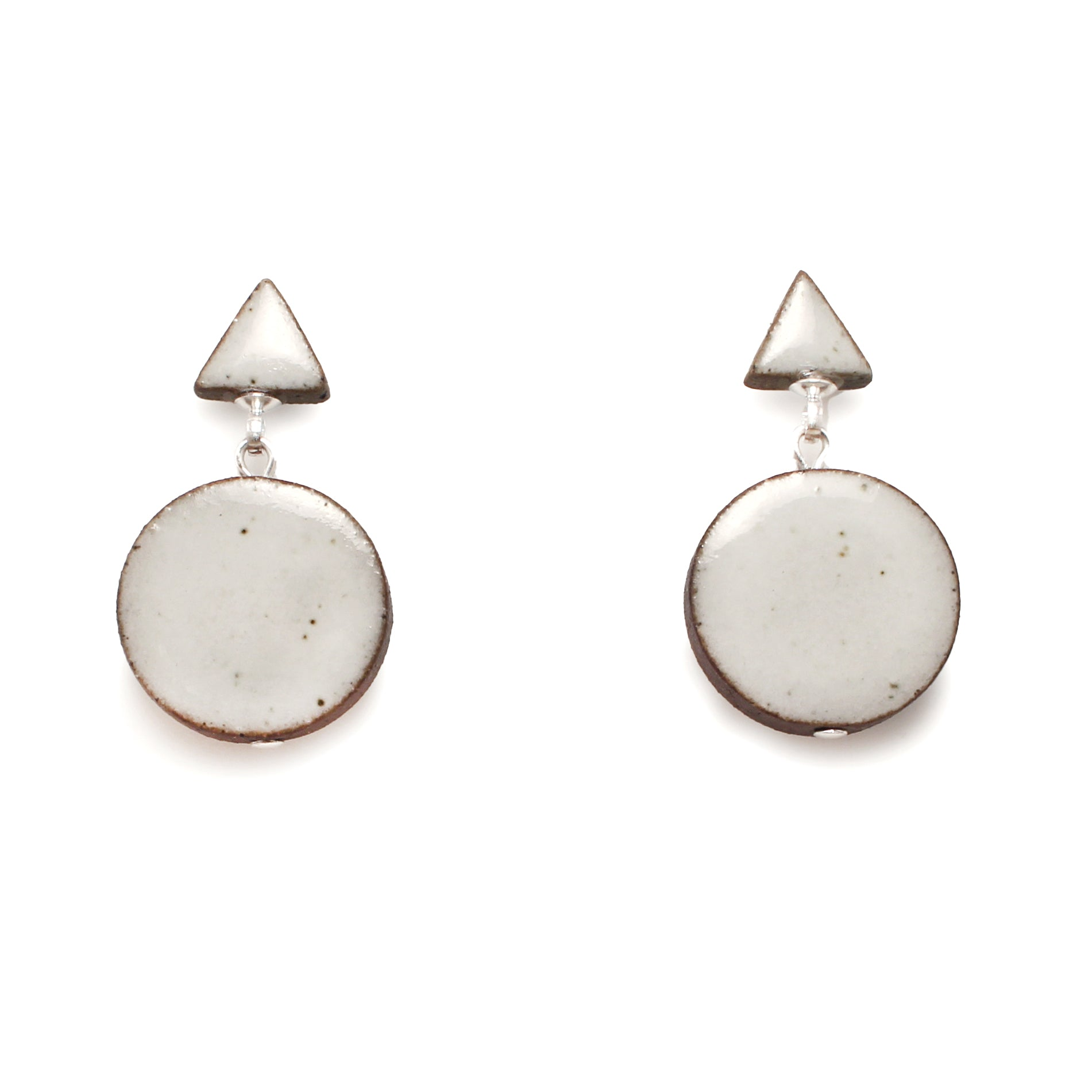 Double Shape White Earrings